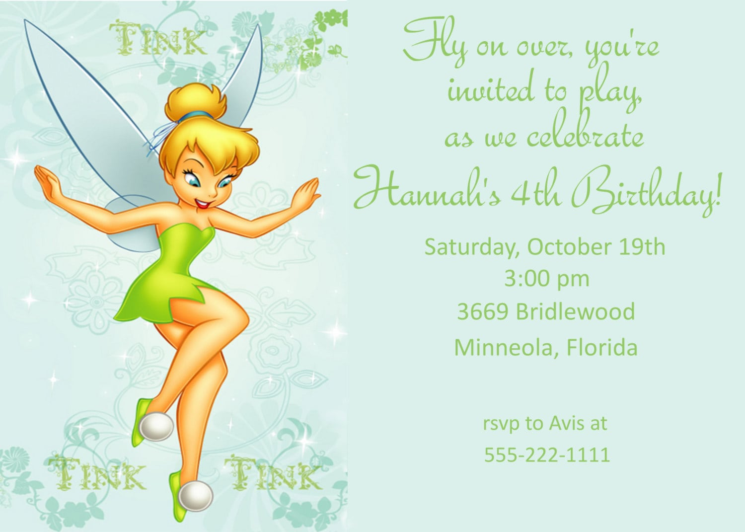 tinkerbell party invitations
