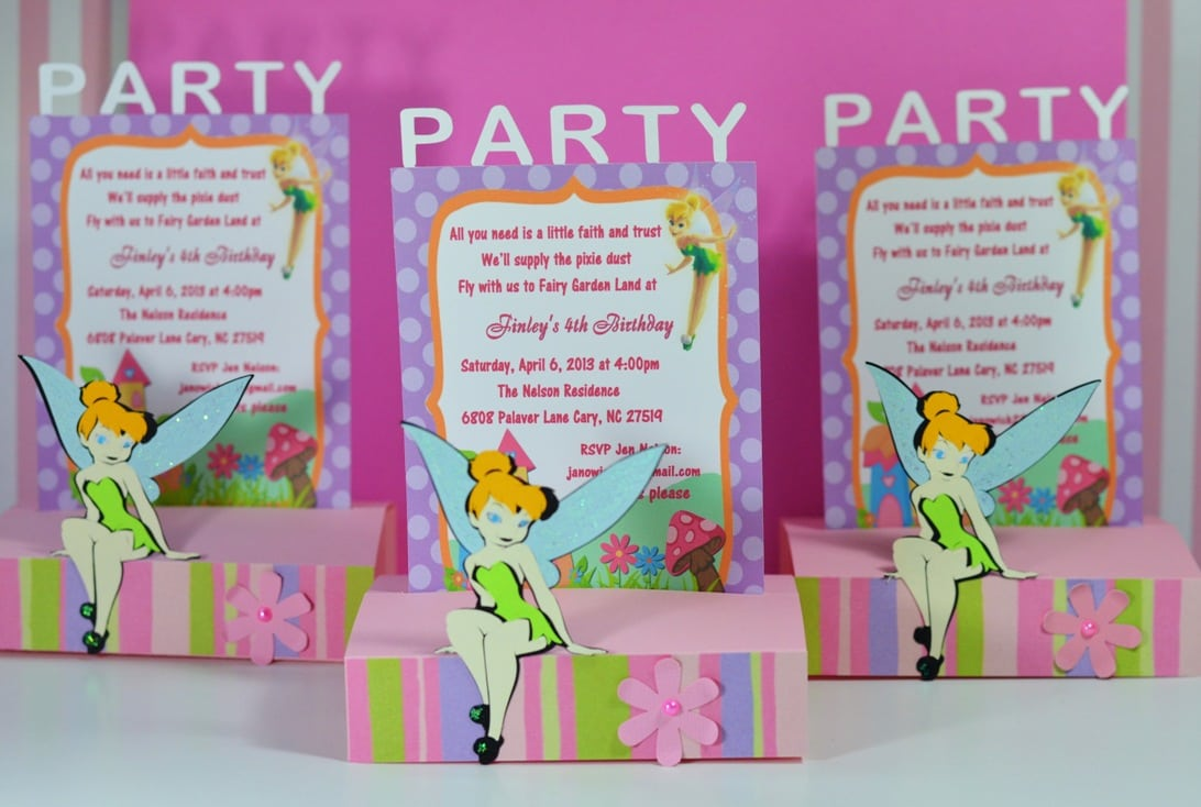 Tinkerbell Fairies Baby Shower Invitations