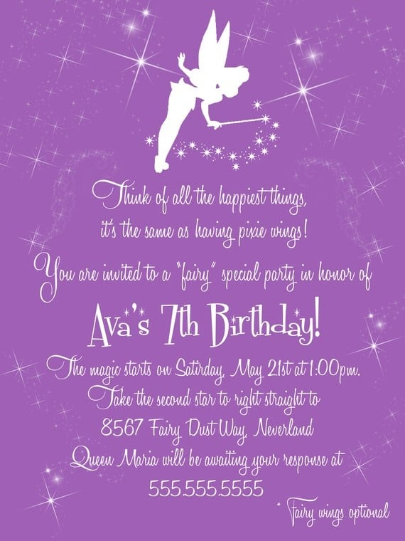 Tinkerbell Fairy Invitation Wording