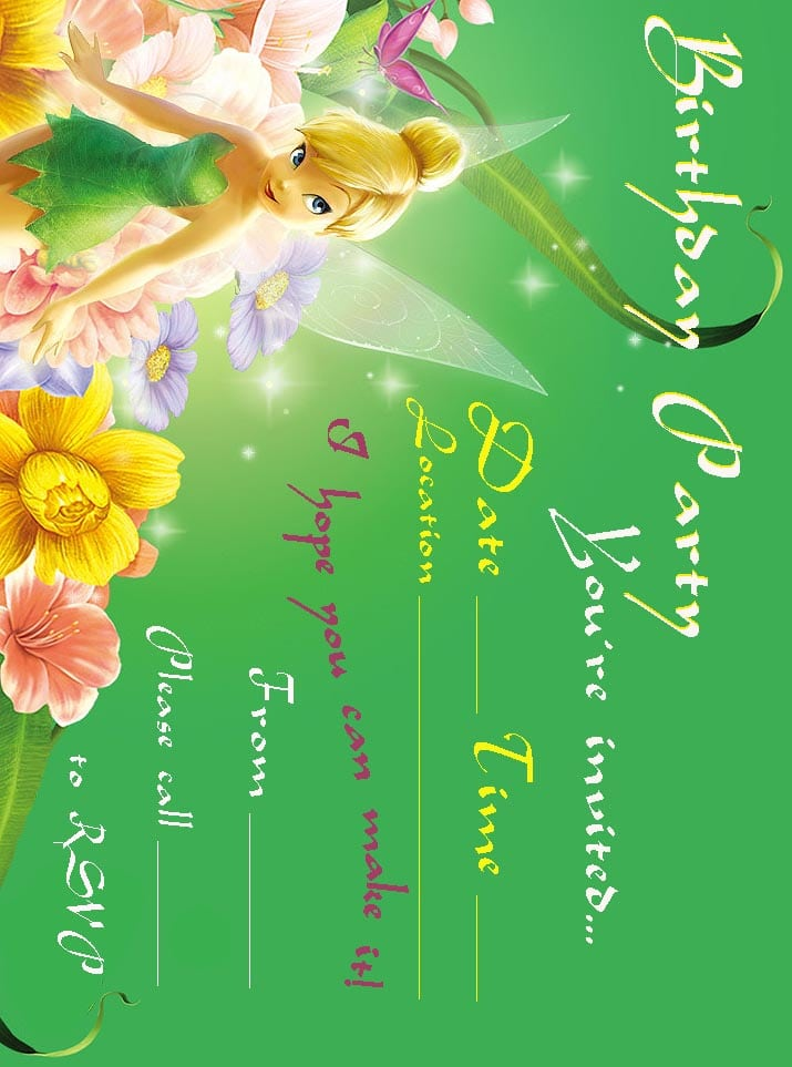 Tinkerbell Party Invitations Free Printable