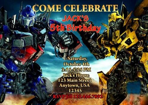 Transformer Party Invitation Free