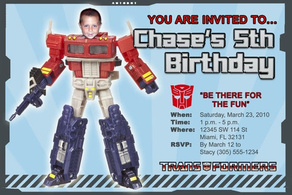 Transformers Invitation Template Free