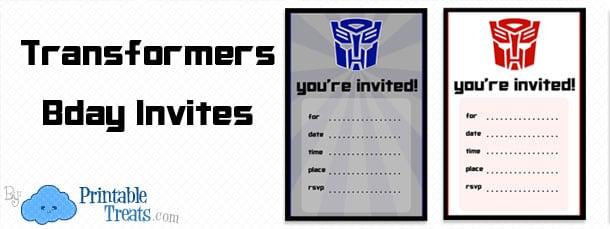 Transformers Party Invitation Free Printable