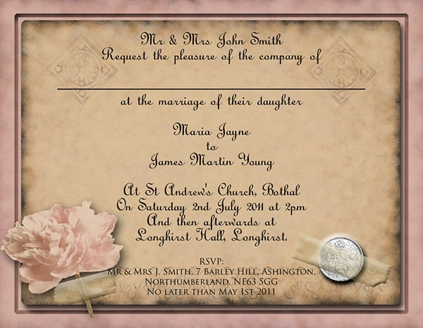 Vintage Wedding Invitation Templates Download