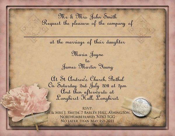 Vintage Wedding Invitation Templates Free: Wedding Invitation Vintage Template