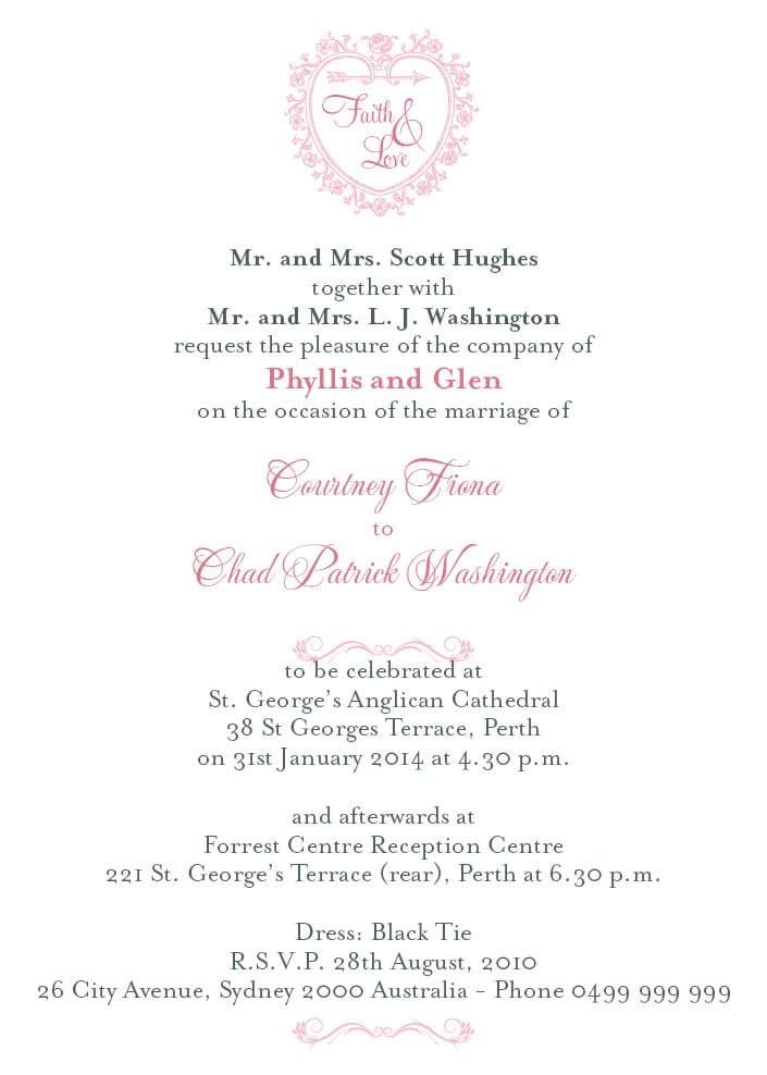 Wedding Invitation Cards Samples Pink