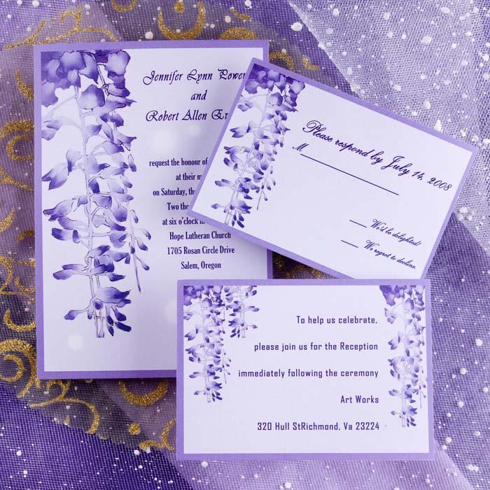 Wedding Invitation Cards Samples Purple