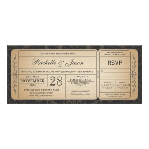 Wedding Invitation Ticket Template Free