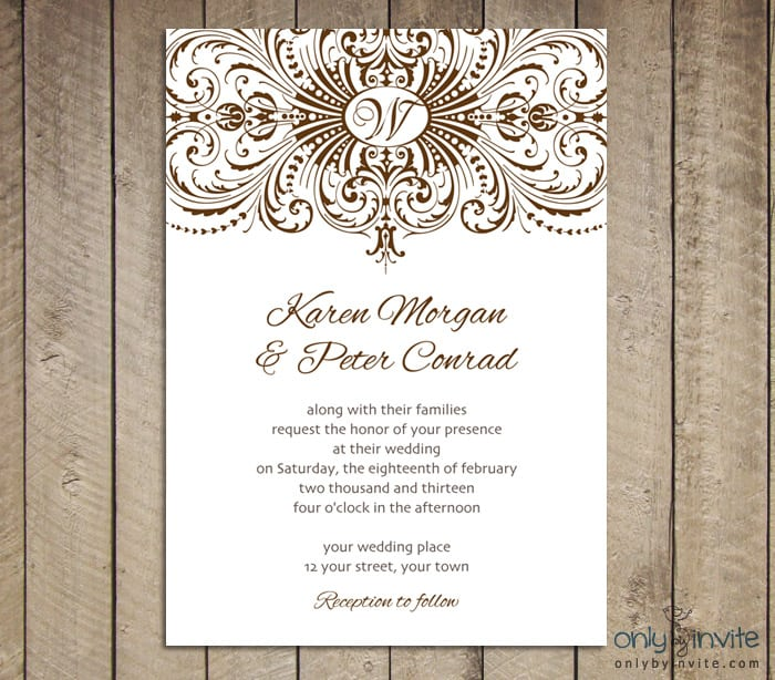 Wedding Invitation Vintage Template Free