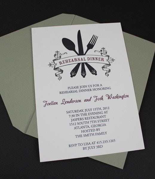 Wedding Rehearsal Dinner Invitation Templates