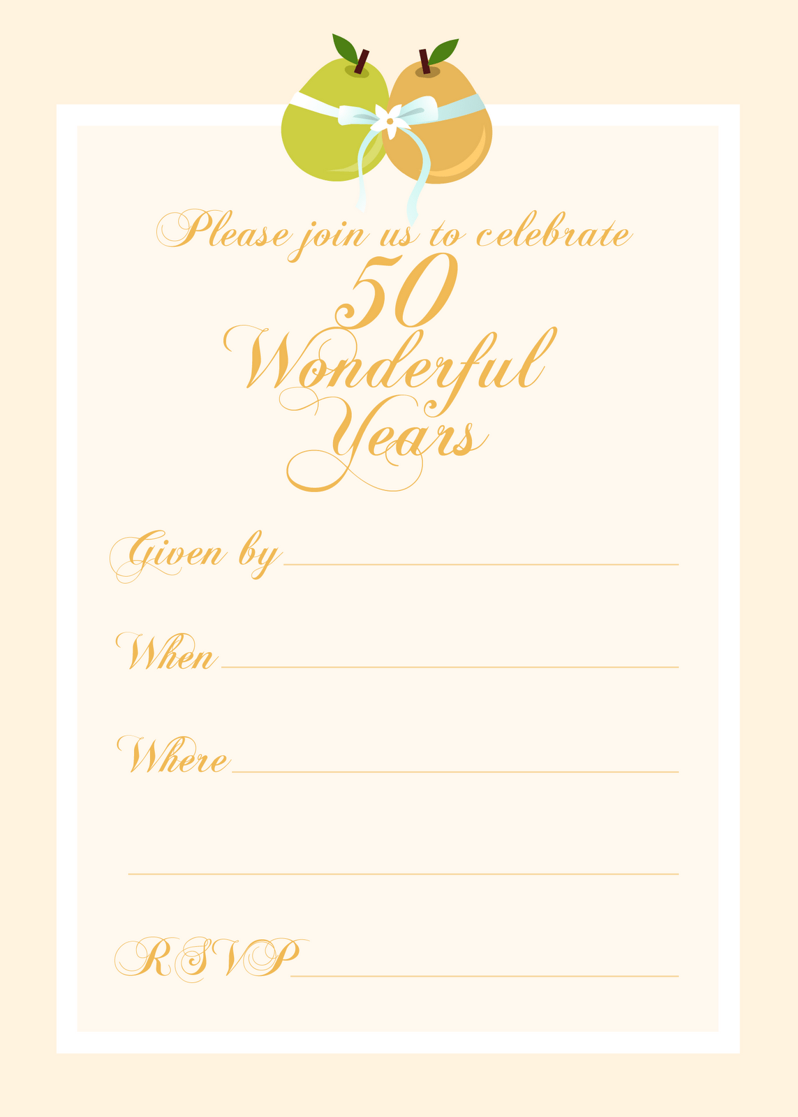 Free 50th Anniversary Wedding Invitation Printables