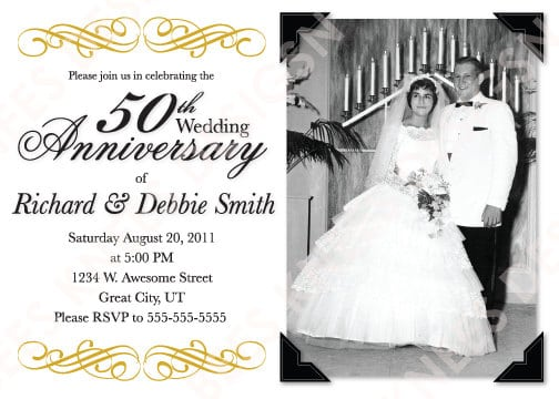Free 50th Wedding Anniversary Invitations Printable