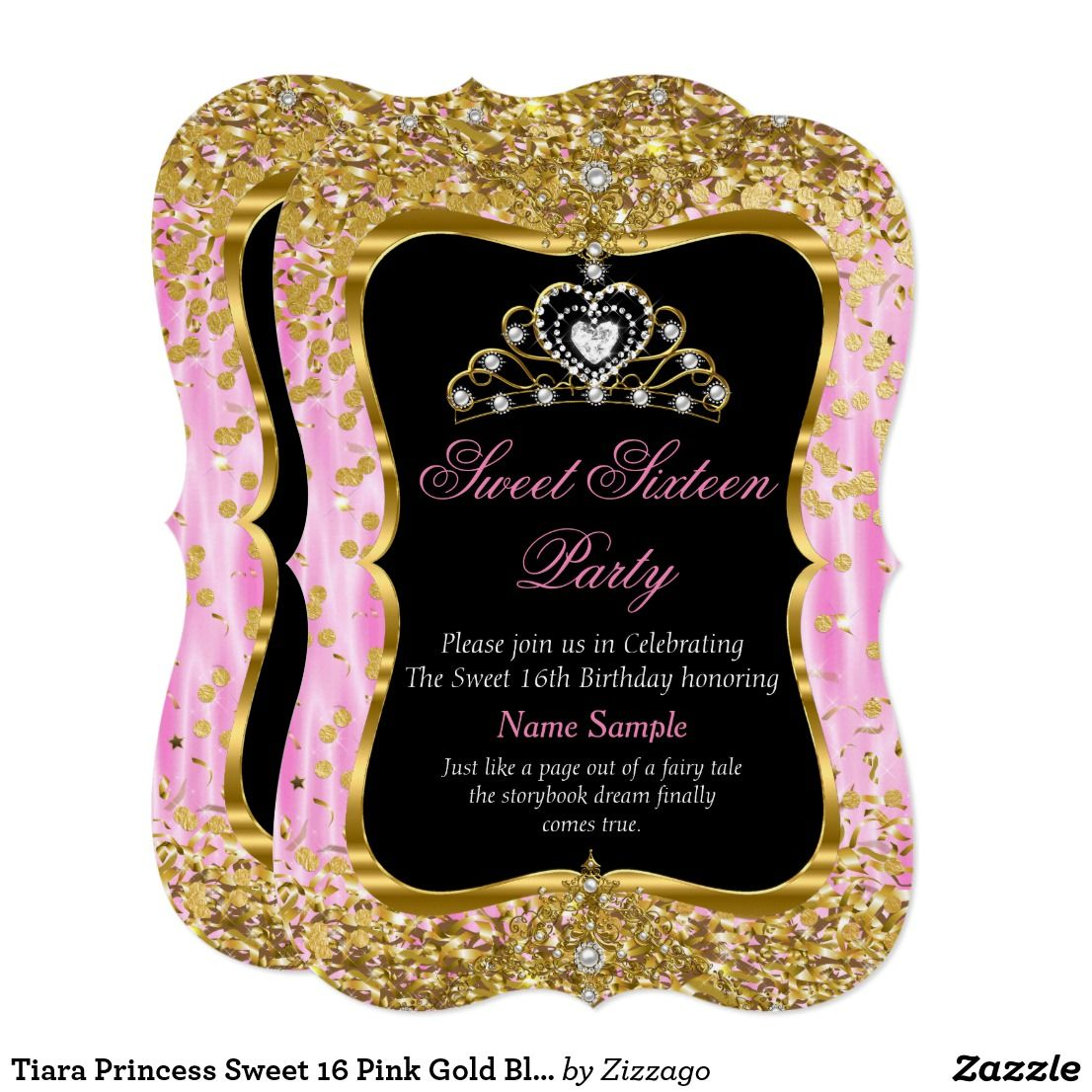 Tiara Princess Sweet 16 Pink Gold Black Invite In 2018