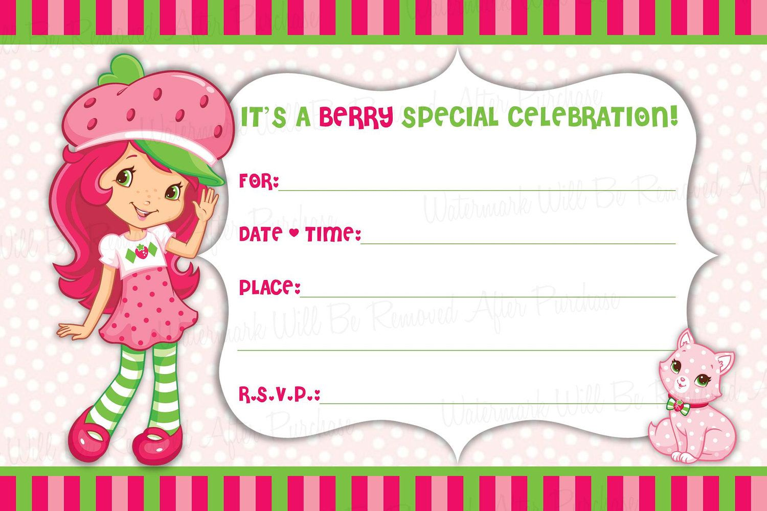 Strawberry Shortcake Free Printable Birthday Invitations
