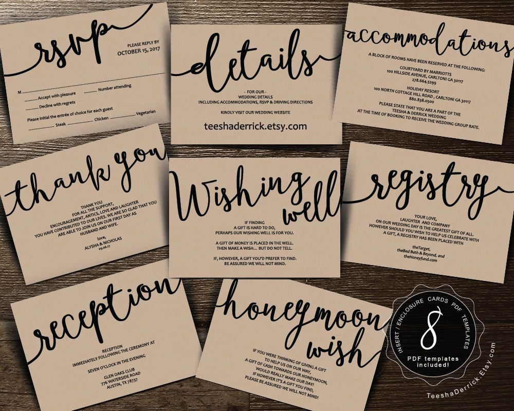 Wedding Insert Cards Pdf Template (instant Download), Enclosure