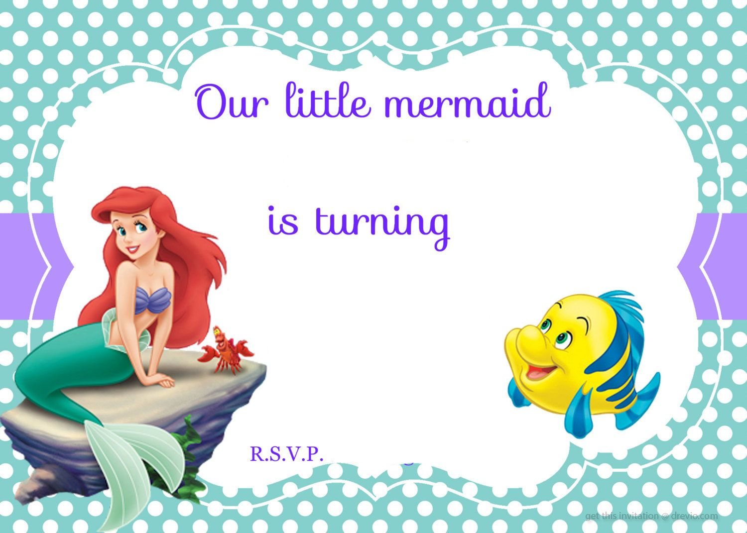 Updated! Free Printable Ariel The Little Mermaid Invitation