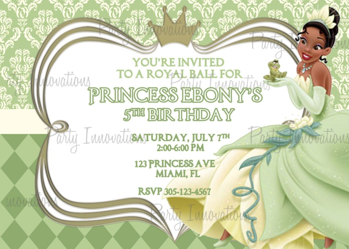 Free Printable Princess And The Frog Party Invitations