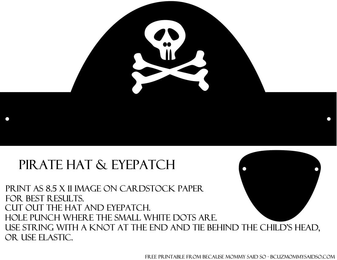 Pirate Hat And Eye Patch Template