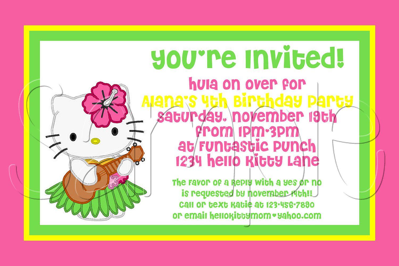 Custom Printable Hello Kitty Luau Invitation Via Etsy