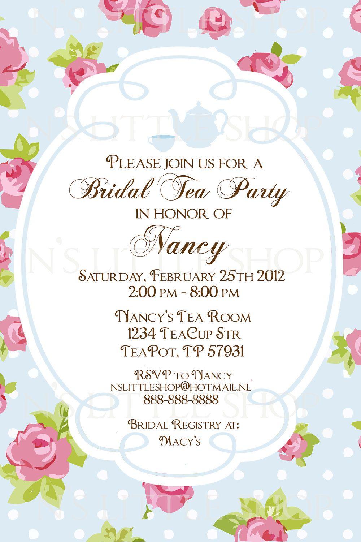 English Rose Tea Party Invitation Card   By Nslittleshop On Etsy