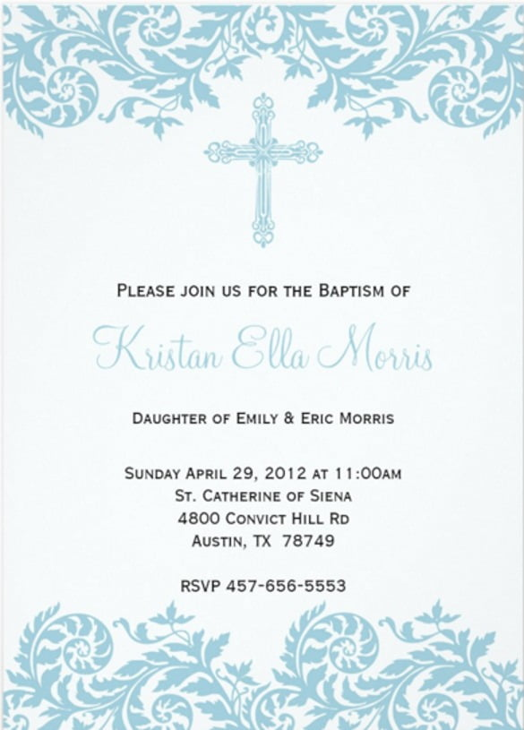 Baptism Invitation Template Free Download Perfect With Baptism