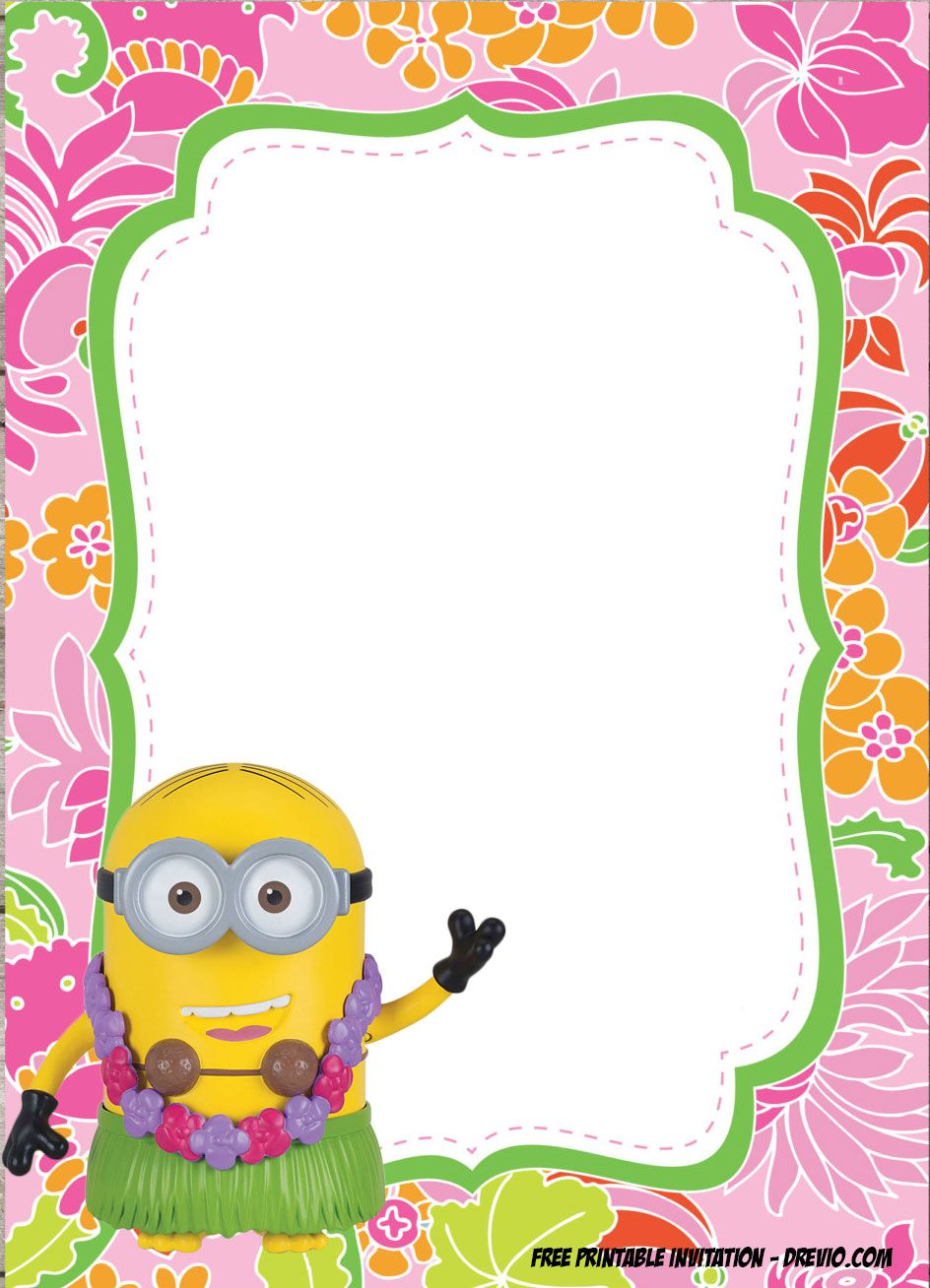 Free Minions Luau Birthday Invitation Template
