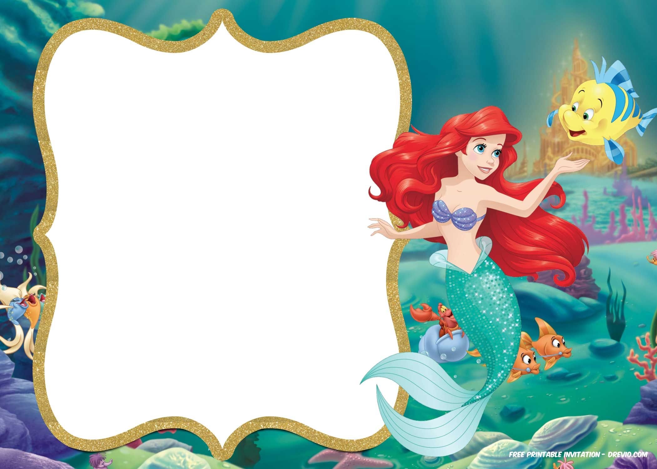 Beautiful Little Mermaid Party Invitations Templates