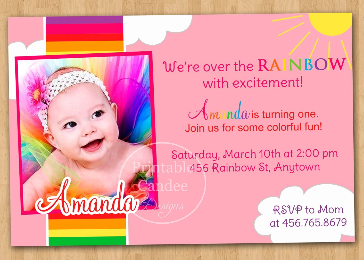 First Birthday Party Invitation Card Template Free Printable Cards