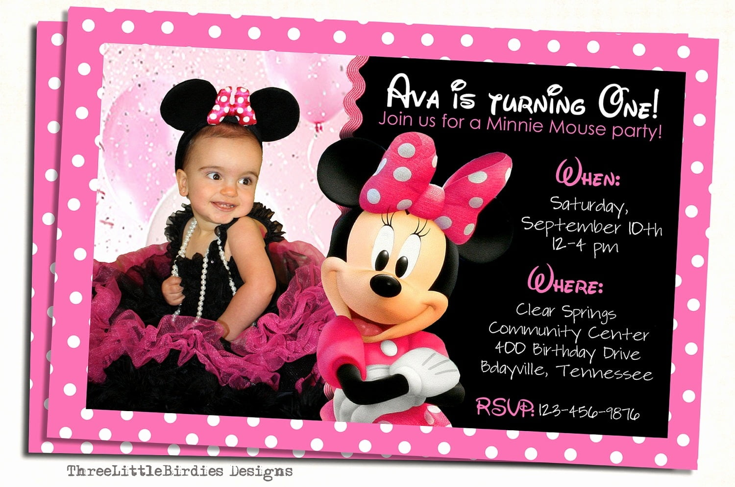 Birthday Invitation Card Maker Inspirational Minnie Mouse
