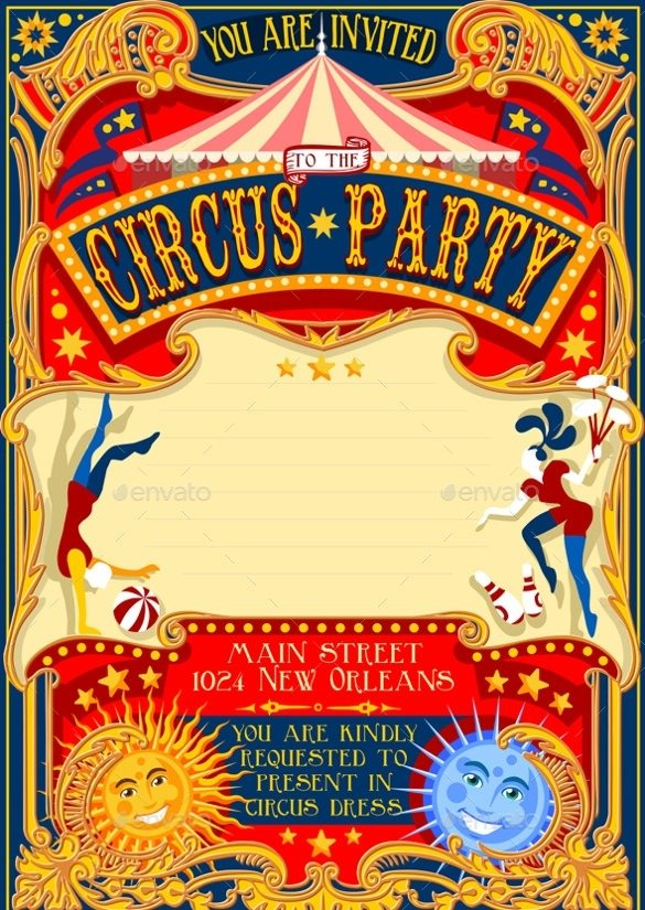 Circus Party Invitation Template Inspirational With Circus Party