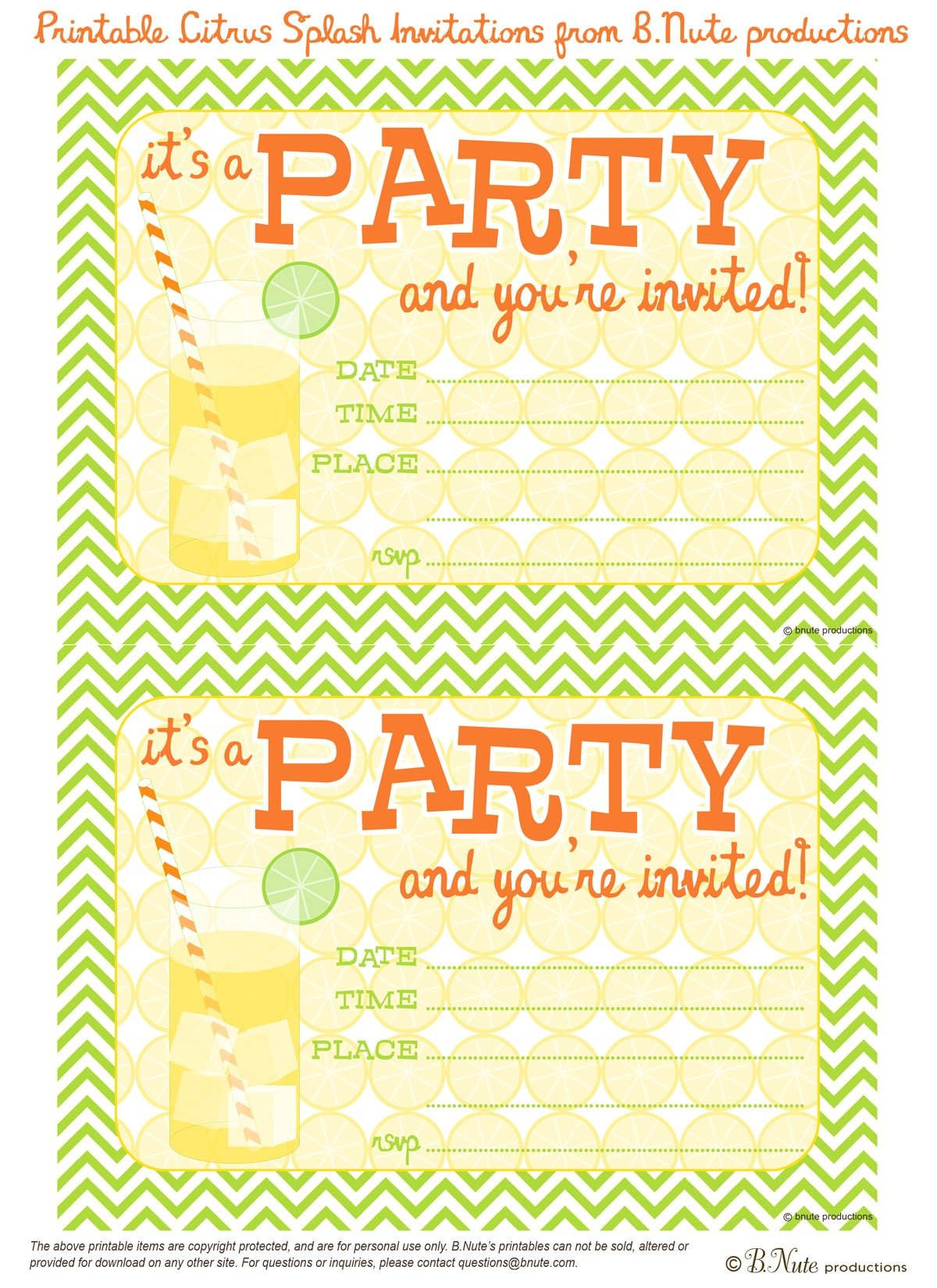 Party Invitations To Print
