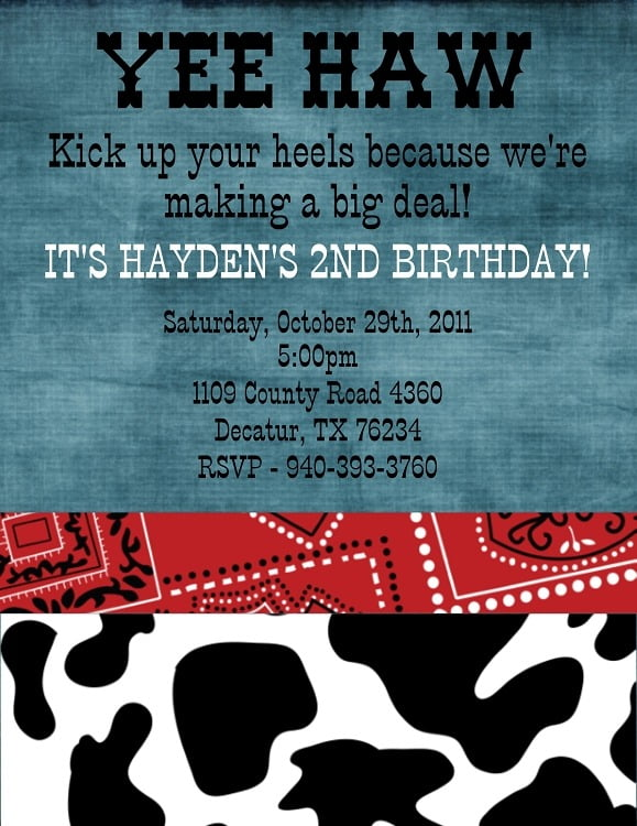Epic Country Western Birthday Invitations
