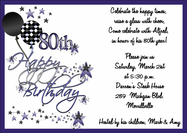 Cute 80th Birthday Invitation Ideas