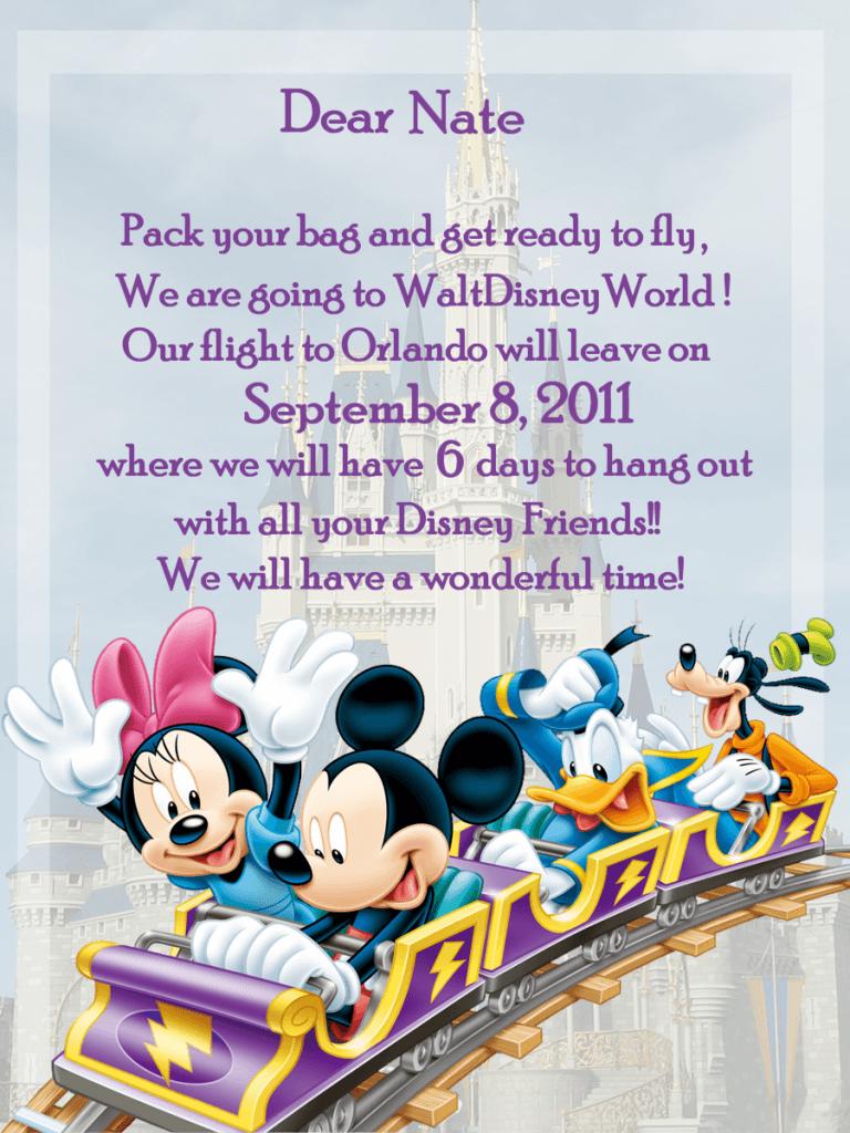 Disney World Invitation  Great Idea For Kids!