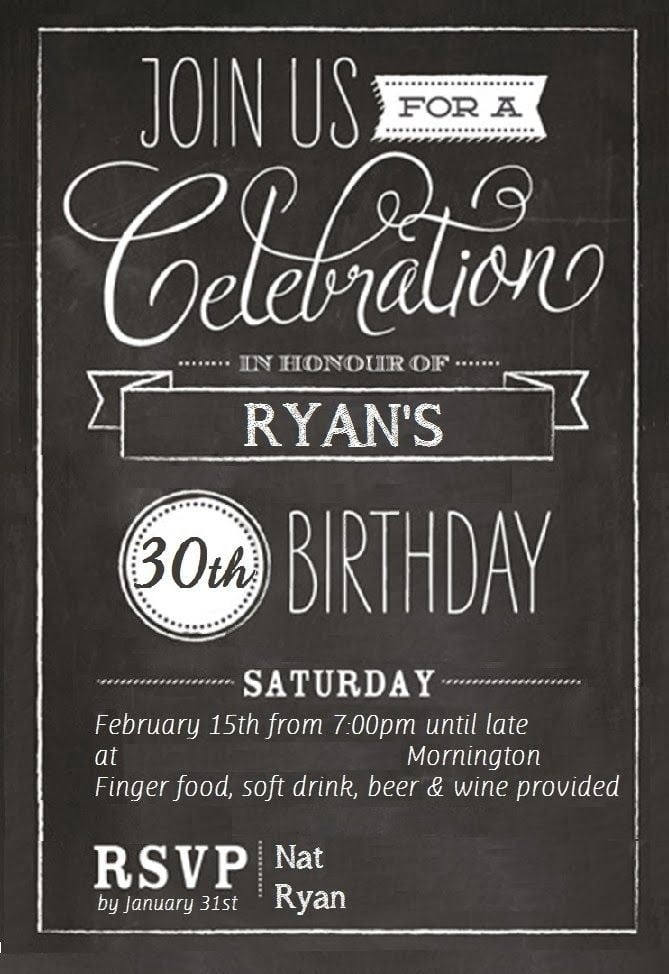 Pth Beautiful 30th Birthday Invitation Templates Free