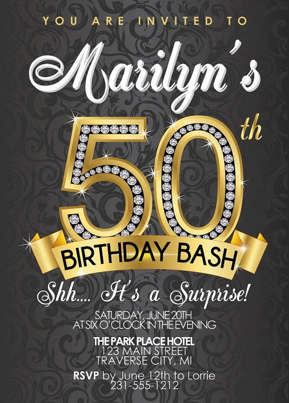 Invitation Template  Surprise 50th Birthday Invites