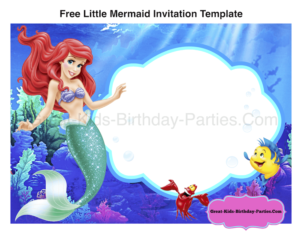 Effabebdbebdeb New Little Mermaid Birthday Invitation Template