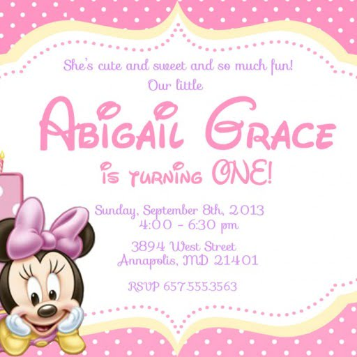 Fancy Baby Minnie Mouse Birthday Invitations