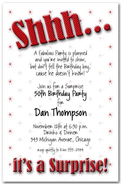 Fancy Free Surprise Birthday Party Invitations