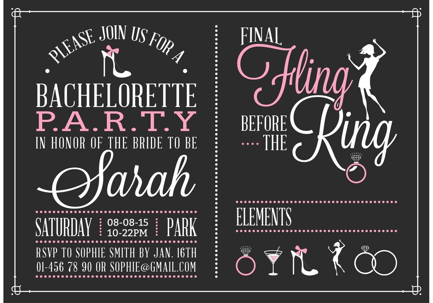 Bachelorette Party Invitation Vector