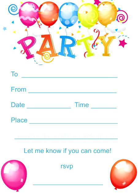 Birthday Party Invitations For Kids Inspirational Printable Kids