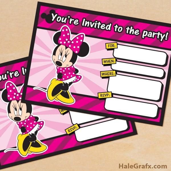 Free Printable Minnie Mouse Birthday Invi Lovely Free Editable