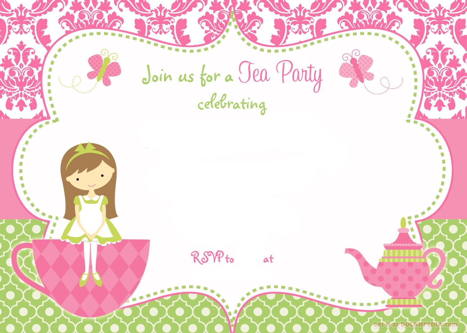 Free Printable Tea Party Birthday Invitation Spectacular Tea Party