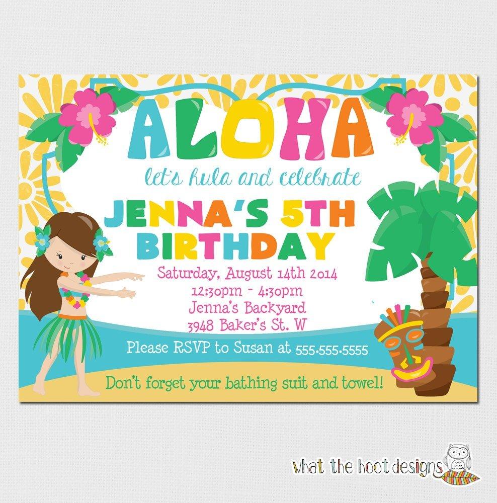 Hawaii Themed Invitations Good Luau Birthday Party Invitations