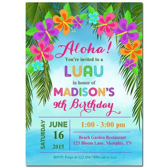 Hawaiian Themed Epic Luau Birthday Party Invitations