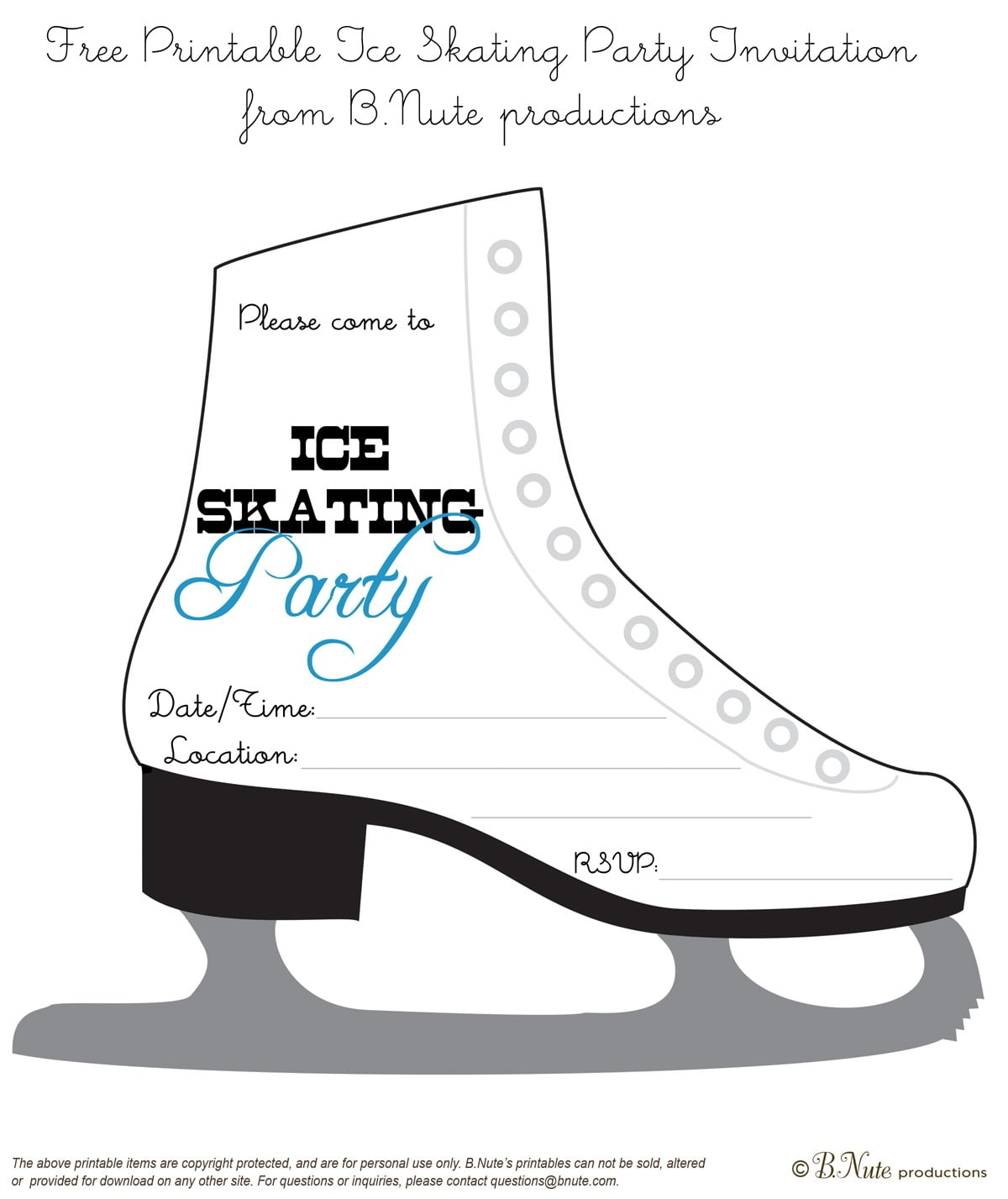 Bnute Productions  Free Printable Ice Skating Party Invitation