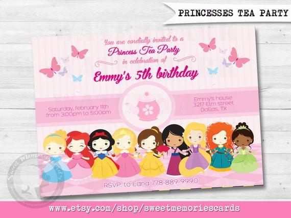 Princesses Disney Princess Tea Party Invitation All