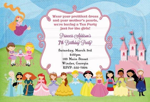 Royal Tea Party Invite Disney Princess Tea Party Tea Party