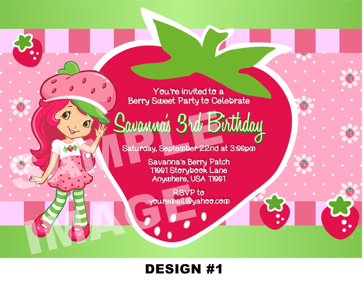 Free Printable Strawberry Shortcake Birthday Party Invitations