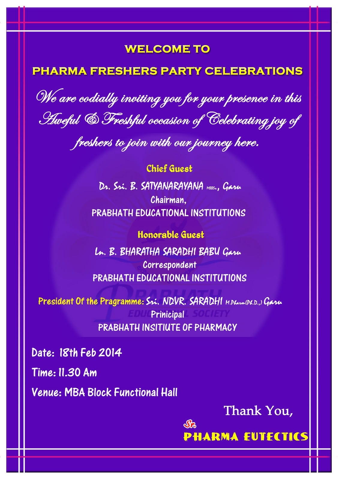 quotes for invitation for freshers party